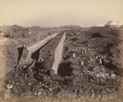 South wall [of] south jetty looking E. [Victoria Dock construction, Bombay].